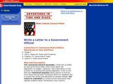 Write a Letter to a Government Official Lesson Plan