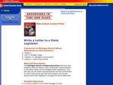 Write a Letter to a State Legislator Lesson Plan