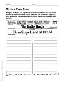 Write a News Story Worksheet