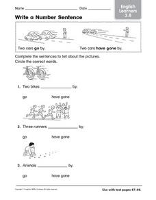 Write a Number Sentence English Learners 3.8 Worksheet