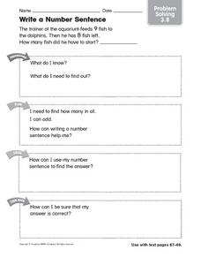 Write a Number Sentence Problem Solving 3.8 Worksheet