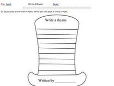 Write a Story or Poem in Rhyme Worksheet