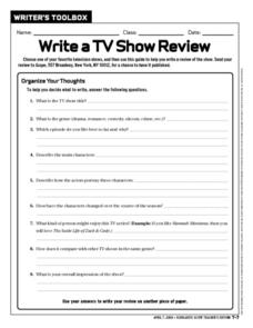 Write a TV Show Review Worksheet