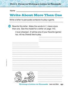 Write About More Than One Worksheet