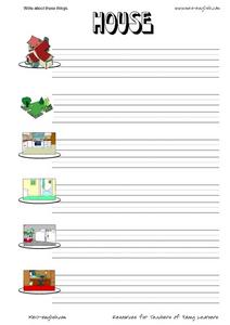 Write About the House Words Worksheet