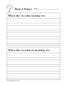 Write About the Weather Worksheet