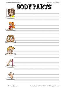Write About These Body Parts Worksheet