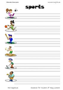 Write About These Sports Worksheet