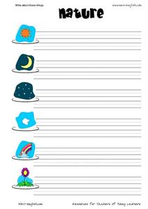 Write About These Things: Nature Worksheet