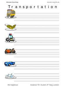 Write About Transportation Worksheet
