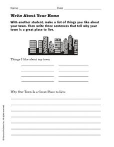 Write About Your Home Worksheet