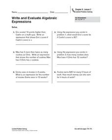 Write and Evaluate Algebraic Expressions Worksheet