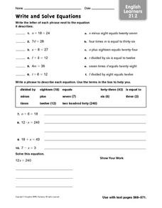 Write and Solve Equations: English Learners Worksheet