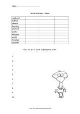 Write Each Word Three Times Worksheet