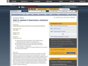 Write Obama's Inaugural Address Lesson Plan