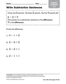 Write Subtraction Sentences 3.4 Worksheet