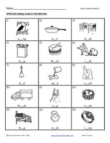Write the Missing Vowel Worksheet