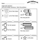 Write the Number Sentences- Time for School Worksheet