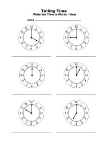Write the Time in Words Worksheet