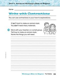 Write with Contractions Worksheet