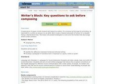 Writer's Block: Key Questions To Ask Before Composing Lesson Plan