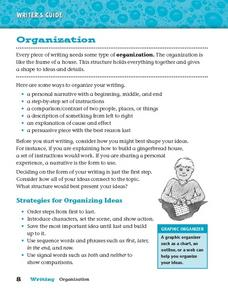 Writer's Guide - Organization Worksheet