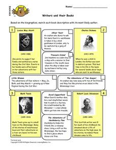 Writers And Their Books Matching Worksheet Lesson Plan