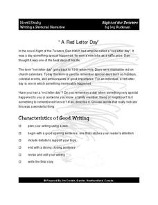 Writing a Personal Narrative: A Red Letter Day Worksheet