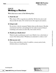 Writing a Review Worksheet