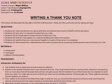 Writing a Thank You Note Lesson Plan
