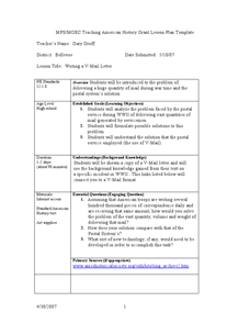 Writing a V-Mail Letter Lesson Plan