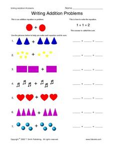 Writing Addition Problems Worksheet
