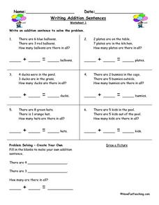 Writing Addition Sentences Worksheet