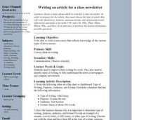 Writing an Article for a Class Newsletter Lesson Plan