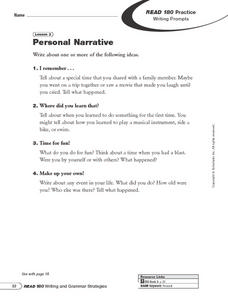 Writing and Grammar Strategies: Personal Narrative and Writing in the First Person Worksheet