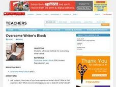 Writing and Scholarship Planning For College-Bound Students: Overcome Writer's Block Lesson Plan