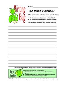 Writing Bug - Too Much Violence Worksheet