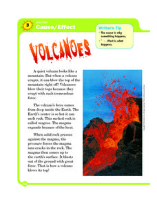 Writing: Cause and Effect - Volcanoes Worksheet