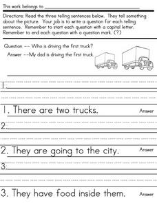 Writing Conventions: Question Sentences Worksheet