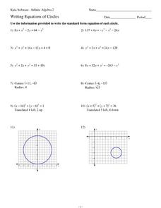 Writing Equations of Circles 10th - 12th Grade Worksheet | Lesson ...