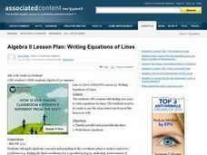 Writing Equations of Lines Lesson Plan
