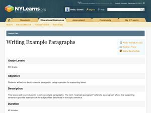 Writing Example Paragraphs Lesson Plan