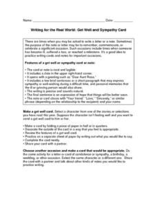 Writing for the Real World: Get Well and Sympathy Card Worksheet