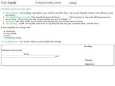 Writing Friendly Letters Worksheet