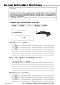 Writing Interesting Sentences Worksheet