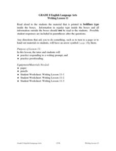Writing Lesson 11 Lesson Plan