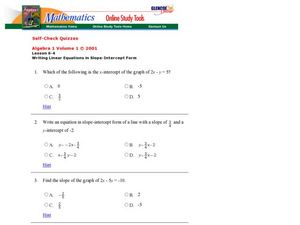 Writing Linear Equations in Slope-Intercept Form Worksheet
