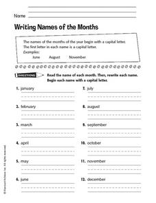 Writing Names of the Months Worksheet