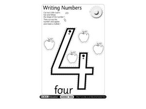 Writing Numbers: 4 Worksheet