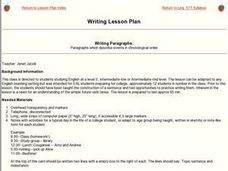 Writing Paragraphs:  Paragraphs which describe events in chronological order Lesson Plan